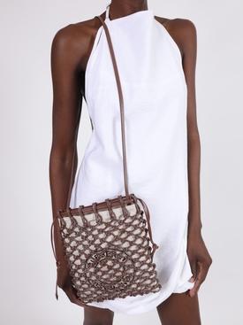 Fishnet drawstring shoulder bag