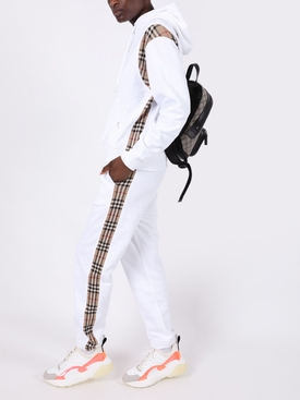 White check print trim hoodie