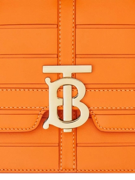Medium Woven Leather TB Bag, Orange
