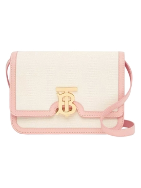 Canvas and leather two tone bag, Pink