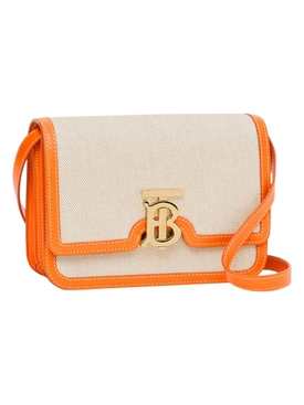 Canvas and leather two tone bag, orange