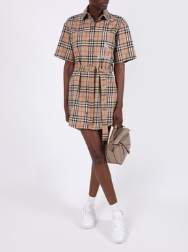 Check print belted dress