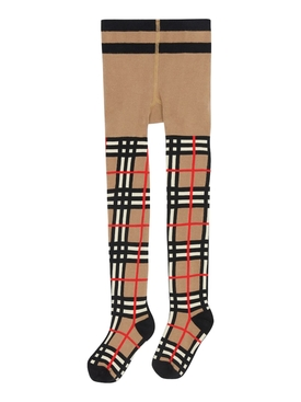 Kids Beige iconic check tights