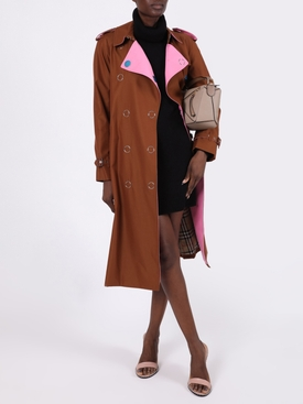 Brown and pink trench coat