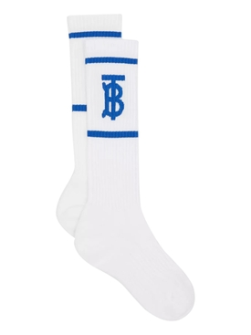 White and blue TB logo socks