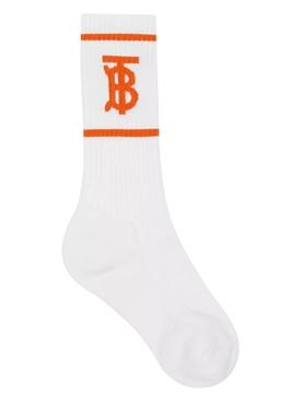 White and orange TB logo socks