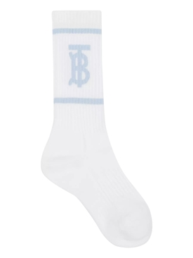 White and pale blue logo socks