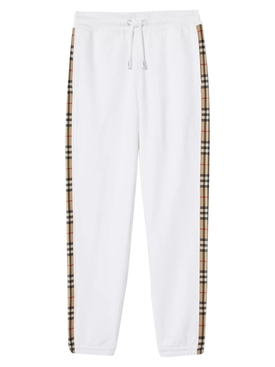 White Check Print Panel Sweatpants