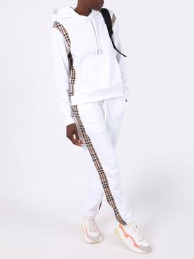 White Check Print Panel Sweatpants