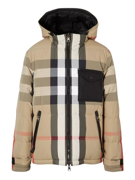 Archive check-print puffer jacket
