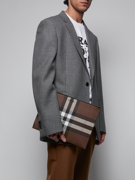 large check-pattern pouch
