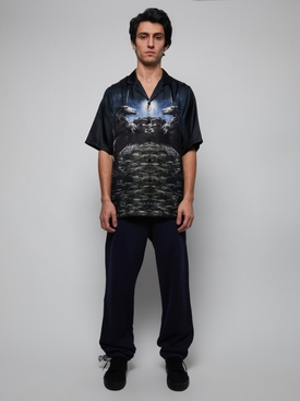 HAVANA FIT SILK SHIRT WITH UNICORN LANDSCAPE PRINT