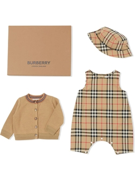 Kids Three-piece Archive check print gift set