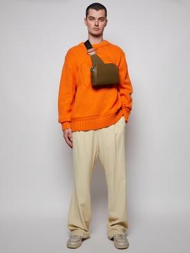 logo emblem knit sweater orange