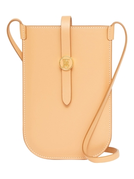 Topstitched Leather Anne Phone Case with Strap, Warm Sand