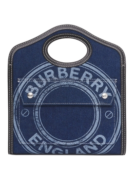 Mini Logo Graphic Denim and Leather Pocket Bag, Blue