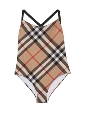 Check Print One-Piece Swimsuit, Archive Beige