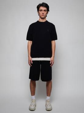 Black Crewneck Ribbed Cashmere Shirt