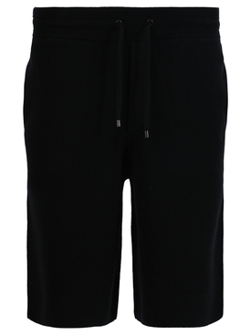 Monogram Motif Cashmere Drawcord Shorts, black