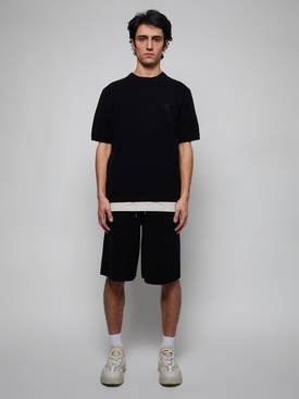 Monogram Motif Cashmere Drawcord Shorts, black