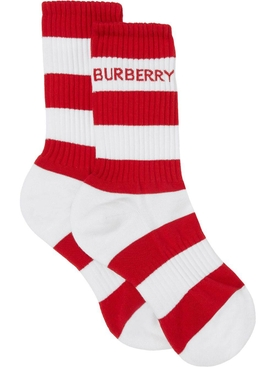 Stripe Crew Length Sports Socks, Red and White