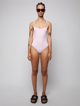 Orchid pink logo tape swimsuit