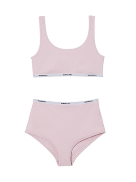 Orchid pink logo tape bikini