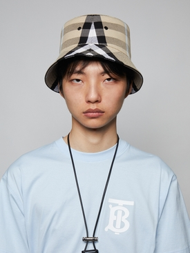 Check Cotton Jacquard Bucket Hat, Dusty Sand