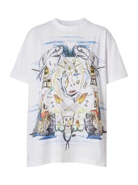 Marine Sketch Print T-shirt, White