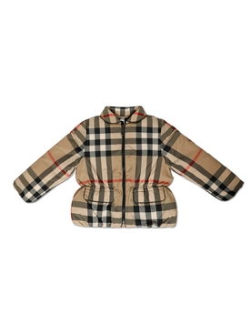 Kid's Check Print Puffer Jacket Archive Beige