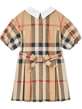 Kid's collared short sleeve dress archive beige