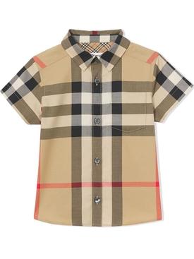 babies buttoned short sleeve shirt archive beige