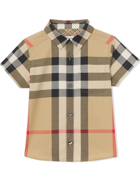 Kid's buttoned short sleeve shirt archive beige