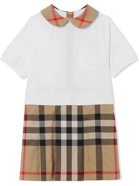 Kid's two tone shirt dress archive beige