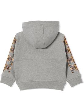 Kid's bear print hoodie grey