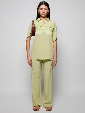 silk trousers mist green