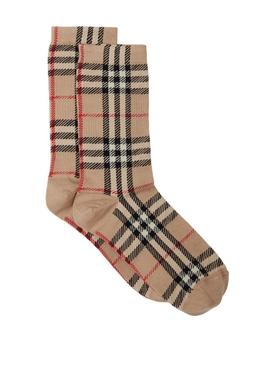 Check Print Socks Beige