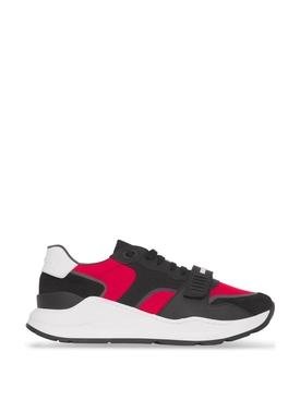 Panelled Low-Top Sneakers Black and Bright Red