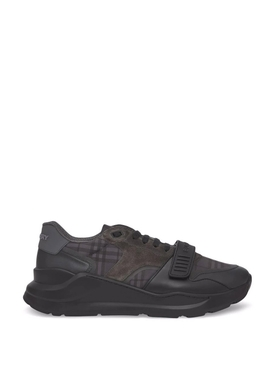 Low-top check print sneakers dark charcoal