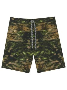 Camouflage Print Swim Trunk Dark Fern Green