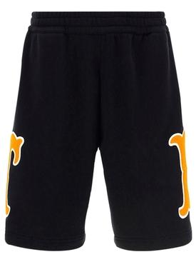 Letter Graphic Cotton Shorts Black