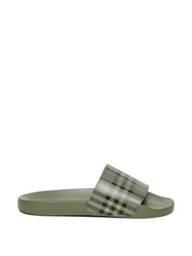 Check Print Slide Sandals Military Green