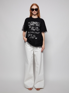 lace overlay t-shirt dress black