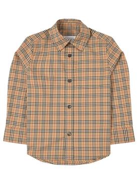 Kids Button Up Shirt Archive Beige