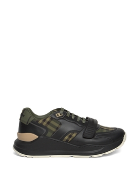 Check Print Low Top Sneakers Military Green