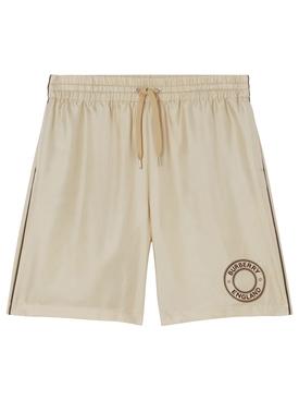 Silk Logo Graphic Drawcord Shorts Soft Fawn