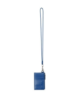 Leather Horseferry Card Case Lanyard Midnight Navy