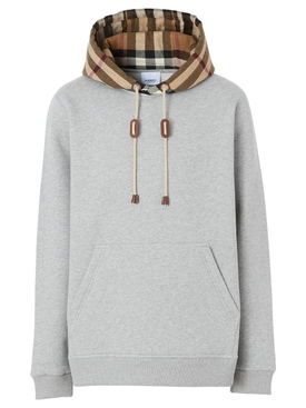 CHECK PRINT HOODIE GREY MÉLANGE AND ARCHIVE BEIGE