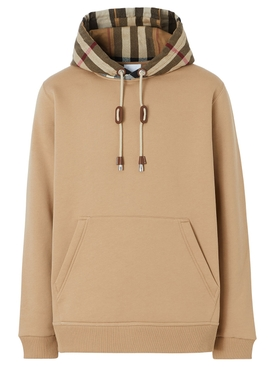 CHECK PRINT HOODIE CAMEL AND ARCHIVE BEIGE