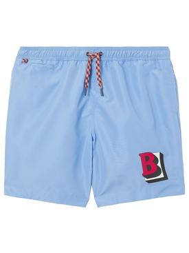 B Logo Swim Shorts Sky Blue